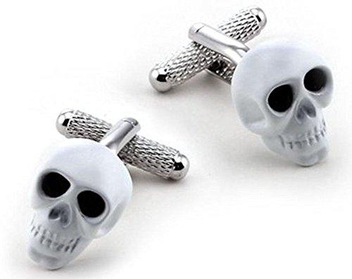 Weiß Totenkopf schwarz Kristall Augen Design Manschettenknöpfe in Geschenkbox-Onyx-Art London ck903