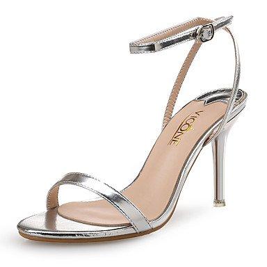 LvYuan Damen-Sandalen-Hochzeit Kleid Party & Festivität-Leder PU-Stöckelabsatz-Club-Schuhe-Silber Gold Silver