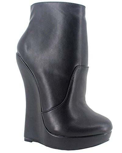 Wonderheel Keilabsatz black matt fetisch Kurzschaft stiefel wedge ankle boots (Boots Fetisch Ankle)