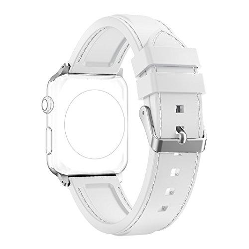 Correa Apple Watch 38mm, Rosa Schleife Silicona Suave Reempalzo Banda Sport Wristband iwatch Strap Deportiva Reemplazo Correa de Reloj para Apple Watch Series 2 , Series 1, Sport, Edition - Blanco
