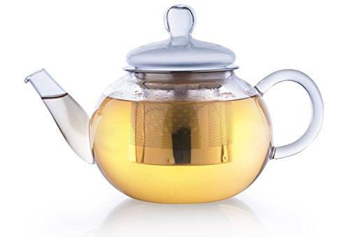 Creano Glas-Teekanne 800ml 3-teiliger Teebereiter mit integriertem Edelstahl-Sieb und Glas-Deckel,...