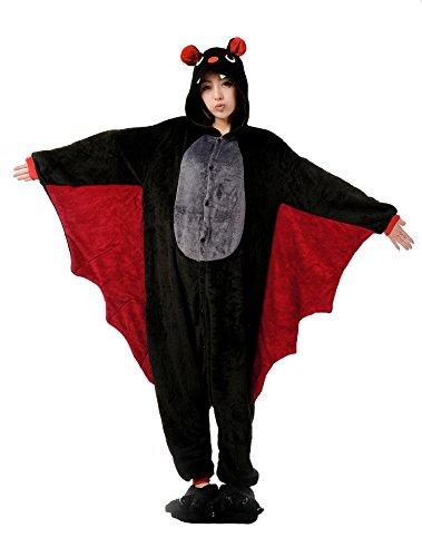 Nicetage Cosplay Onesie Jumpsuits Anime Kostuem Erwachsene Pyjama Overall Hausanzug Kigurum Fledermaus XL (Damen Fledermaus Kostüme)
