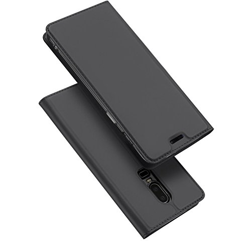 MOBITECH Present Smart Pu Leather Flip Case Cover for Oneplus 6, 6T (Black)