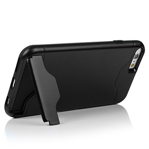 iPhone 6 6S Hülle Kasos 2 in 1 PC Hartplastik + Flexible TPU Silikon Case Handyhülle Etui Schutzhülle Support Stand Karte Handy Cover Bumper für iPhone 6 / 6S (4.7 Zoll )Schwarze Schwarze