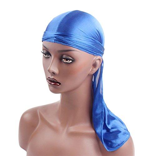 JYJMFrauen Indien Muslim Stretch Solid Silky Turban Hut Kopftuch Wrap Cap Seide Lange Turban Hut Muslimische Kopfbedeckungen Lila, schwarz, blau, rosa, rot, weiß, (blau) - Distressed Weiß Computer