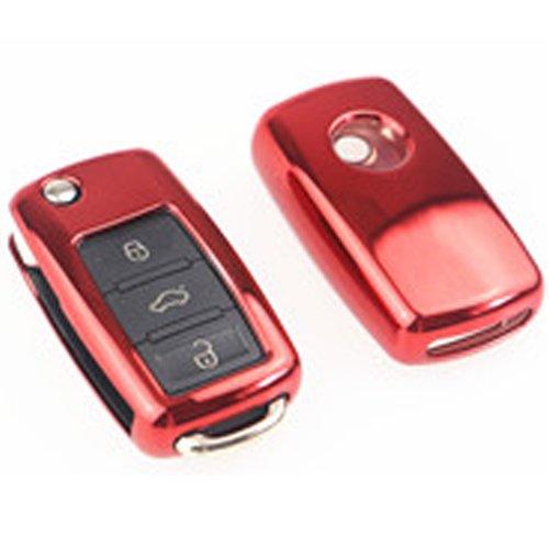 Alta calidad suave plástico para llave de coche/Soporte-Universal accesorios para Volkswagen, VW, Skoda (brillante rojo)