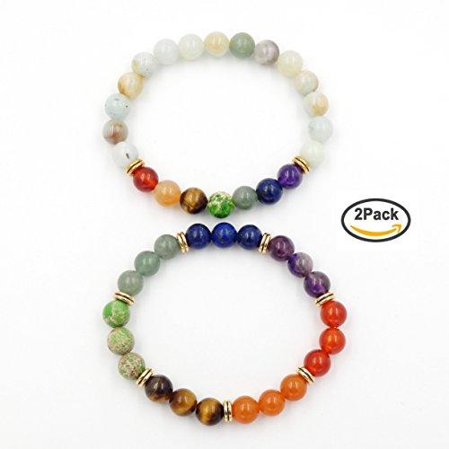 7 chakra bracciale guaritore, la guarigione equilibrio braccialetto, gemstone tratto braccialetto (multi-color amazzonite)