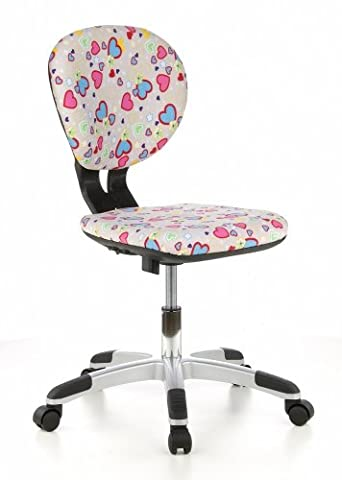 hjh OFFICE, 670270, Childrens Desk Chair, swivel chair, computer chair kids room, BILLY KID, Motif, mesh fabric, for children, ergonomic back, height adjustable, office task study chair, home stool, armless, with soft-bottom rollers, stylish synthetic foot base
