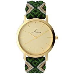 Toywatch Maya Women's Quartz Watch with Gold Dial Analogue Display and Green Strap MYW06GD - 0.94.0060