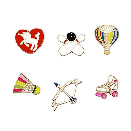 Fengteng Unisex Brosche 6 Stück Heißluftballon Pfeil und Bogen Badminton Rollschuhe Herz Pferd Sportart Set Broschen Cartoon Abzeichen Anstecker Zubehör (Bogen-brosche Und Pfeil)