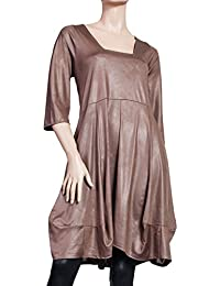 Ballondesign Tunika Kleid Lederoptik mit Trapez-Ausschnitt goldbraun