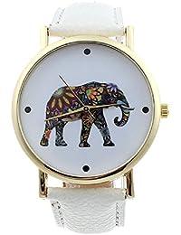 Malloom® mujeres moda patrón de elefante cuero de la PU analógico cuarzo Dial del reloj(blanco)