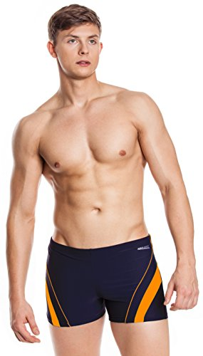 AQUA-SPEED® Herren Badehose | Schwimmhose | S-XXXL | Modern | Perfect Fit | UV-Schutz | Chlor resistent | Kordelzug 02. / 04 / navy orange