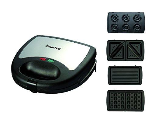 SUNTEC Multitoaster WAE-9615 [4 austauschbare Platten für Waffeln/Sandwich/Grill/Donuts, Antihaftbeschichtung, max. 750 Watt]