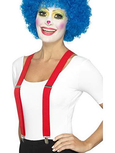 Kostüm Artisten - Luxuspiraten - Kostüm Accessoires Zubehör Zirkus Clown Hosenträger Braces, perfekt für Karneval, Fasching und Fastnacht, Rot