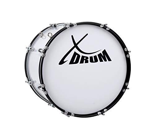 """XDrum MBD-218 Marsch Bass Trommel, Fußball Pauke 18\"""" x 12\"""" (6,5 kg, 4 Ösen, Spannschrauben, inkl. Paar Schlägel, Tragegurte, Stimmschlüssel) weiß"""