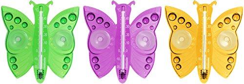 Fackelmann Fensterthermometer Schmetterling TECNO, analoges Außenthermometer, Thermometer mit Saugnäpfen (Farbe: Rosa, Orange - nicht frei wählbar), Menge: 1 Stück