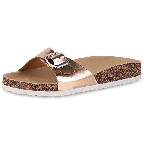 SCARPE VITA Damen Komfort Sandalen Pantoletten Lack Hausschuhe Kork-Optik 158115 Rose Gold Korkoptik 37