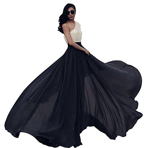 Urban GoCo Falda Larga de Mujer Plisada Cintura Alta Elegante Maxifalda de  Playa Baile Fiesta Rojo b0c01b48ff68