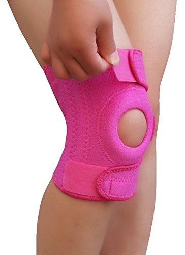 Knieschutz- Knieschoner mit Klettverschluss und Patellaöffnung Kniebandage – Knie Sportbandage – Kniestütze (pink)