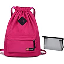 Unisex cordón bolsa impermeable bolsa con cuerda mochila ligera deportes Sackpack gimnasio saco Cinch bolsa con bolsillo para Yoga natación viaje + neceser pequeño, rosa