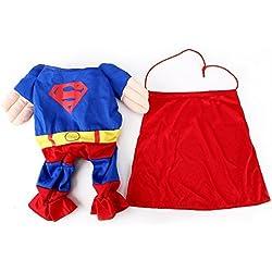 EQLEF® Superman Perro Gato Cachorro Halloween Disfraz Ropa Mascota Vestido de superperro