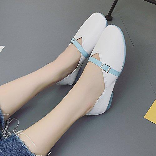 Lgk & fa estate sandali fondo piatto tacco basso fibbia della cintura scarpe basse scarpe da donna blue