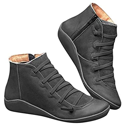 2019 New Women's Ankle Boots Ladies Casual Arch Support Boots Waterproof Boots Flat Slip On Boots Comfy Booties Vintage High Top Side Zipper Shoes Outdoor Anti-Slip Walking Boots 2