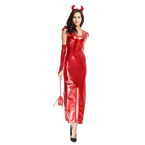 FUNFSEX Red Long Devil Holloween Kostüm V Lackleder Nachtclub Kleid PU Cosplay (Holloween Sexy Herren Kostüm)