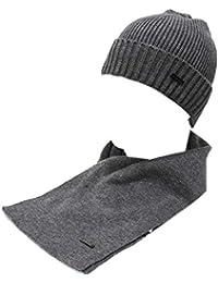 GIANMARCO VENTURI Set sciarpa e cappello uomo 100% acrilico in box 79541  grigio 7d6ed795dada