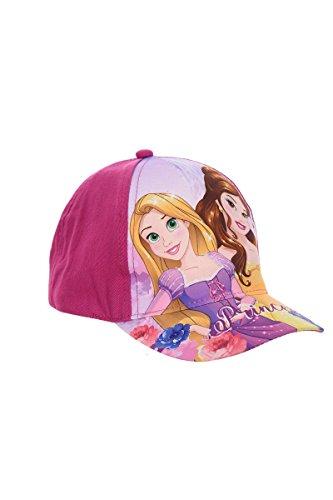 Disney Princess Kappe, Baseball Cap, Schirmmütze für Kinder, Mädchen, Rapunzel und Belle, 100% Baumwolle mit Klettverschluss verstellbar (54, Lila) (Lila Disney Princess)