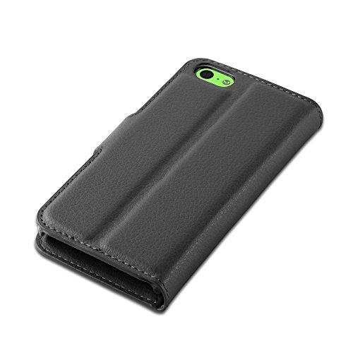 Apple iPhone 5C Hülle in PINK von Cadorabo - Handy-Hülle mit Karten-Fach und Standfunktion für iPhone 5C Case Cover Schutz-hülle Etui Tasche Book Klapp Style in CHERRY-PINK PHANTOM-SCHWARZ