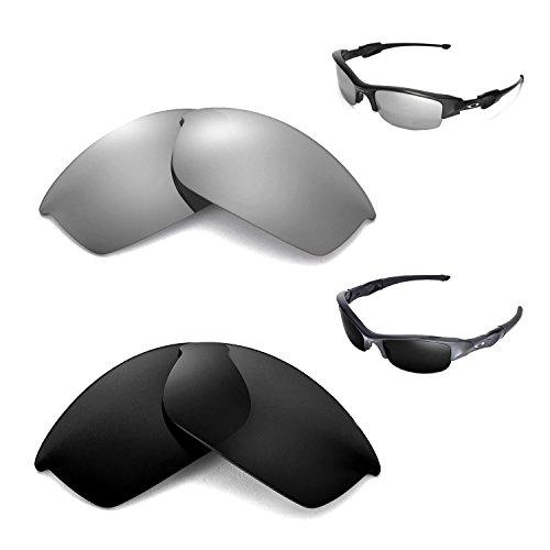 Walleva polarisierte schwarze Gläser + Titangläser für Oakley Flak Jacket