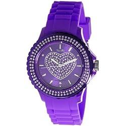 Nuvo - NU147 - Armbanduhr für Damen - Quartz - Analog - Violettfarbenes Armband aus Silikon - Violettfarbenes Zifferblatt - Swarovski Elemente und Diamanten - Modisch - Elegant - Stylish