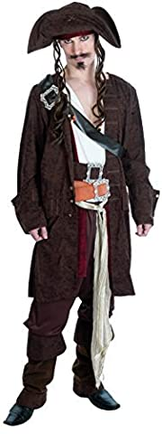 Mens Rum Smuggler Pirate Costume For Buccaneer Fancy Dress Adults