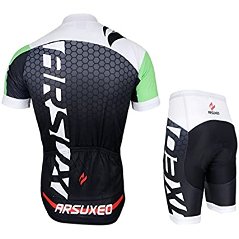 MaMaison007 ARSUXEO hombres Ciclismo Jersey bici bicicleta corta mangas Jersey montaña bicicleta ropa camisas-negro y azul