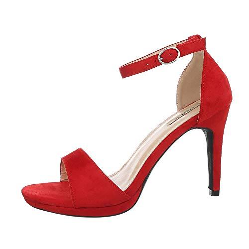 Ital-Design Damenschuhe Sandalen & Sandaletten High Heel Sandaletten Synthetik Rot Gr. 40 (Rote Glitzer High Heels)