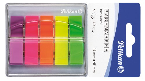 Pelikan 200303 - Pagemarker N132, 200 Blatt, Größe: 5 x 12 x 45 mm, transparente Farben: grün/gelb/orange/rosa/violett