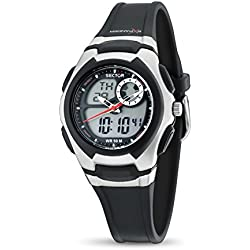 Sector Women's Digital Watch with LCD Dial Digital Display and Black PU Strap R3251172034