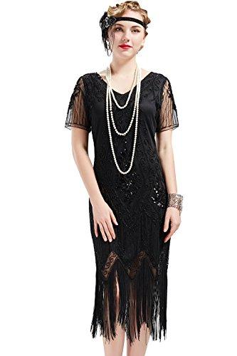 ArtiDeco 1920s Kleid Damen Flapper Kleid mit Kurzem Ärmel Gatsby Motto Party Damen Kostüm Kleid (Schwarz, XXL)
