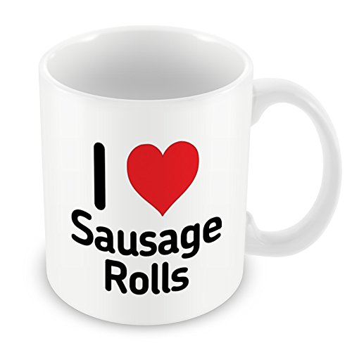 I Love Sausage Rolls Mug Heart Gift Idea Christmas Funny Coffee