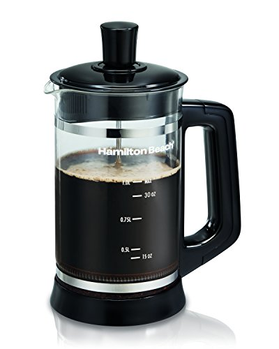Hamilton Beach 40400 - Cafetera (Independiente, Negro, Transparente, Francés de Prensa, De café molido, Café, Hot chocolate, 1L)