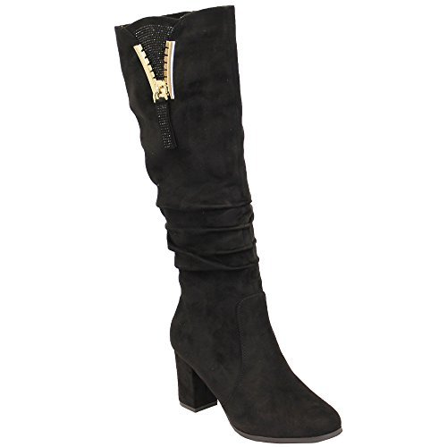 Pour Femmes Daim Look Bottes Long Genoux Mollet Chaussures Pour Femmes Talon Bloc Doublé Fourrure Hiver Noir - B7551