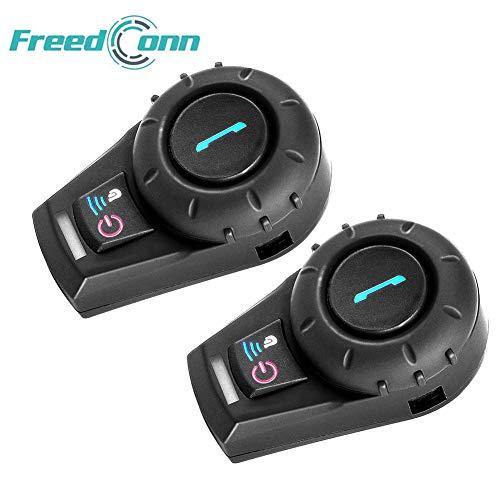 FreedConn Bluetooth Motorrad Intercom Helm Communicator Headset für Motorrad Skifahren Reichweite-800M / 2-3Riders Pairing/Schwarz (2 Einheiten mit Softkabel) Bluetooth Communicator