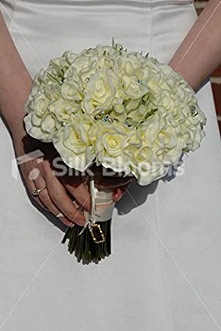 Ivory Real Touch Rose Bridal Bouquet w/ Picture Frame Charm
