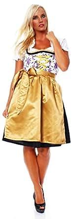 10625 Fashion4Young Damen Dirndl 3 tlg.Trachtenkleid Kleid Mini Bluse Schürze Oktoberfest (34, Schwarz-Weiß-Gold)