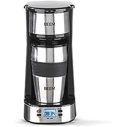 BEEM 03510 Machine 1510SR-Pour Une Personne-Filtre Permanent-pour café et thé-750 W-Minuterie 24 h-Acier Inoxydable, 750 W, Noir/Argenté