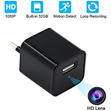 USB Wall Charger Cámara Espía,UYIKOO HD 1080P Ocultos Cámara with 32GB Internal Memory Nanny