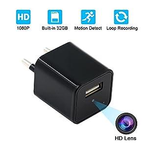 camara espia usb: USB Wall Charger Cámara Espía,UYIKOO HD 1080P Ocultos Cámara with 32GB Internal ...