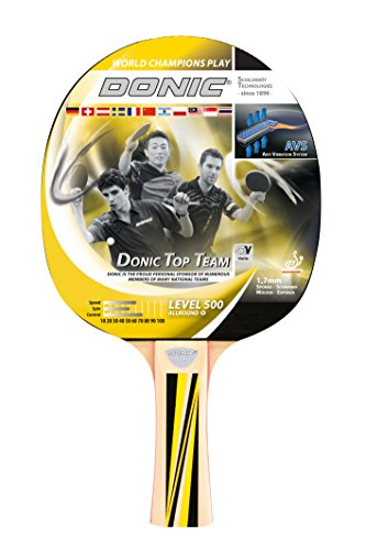 Donic-Schildkröt Tischtennisschläger Top Team 500, AVS-Griff, 1,7 mm Schwamm, Donic 1-Stern - ITTF Belag, 725051